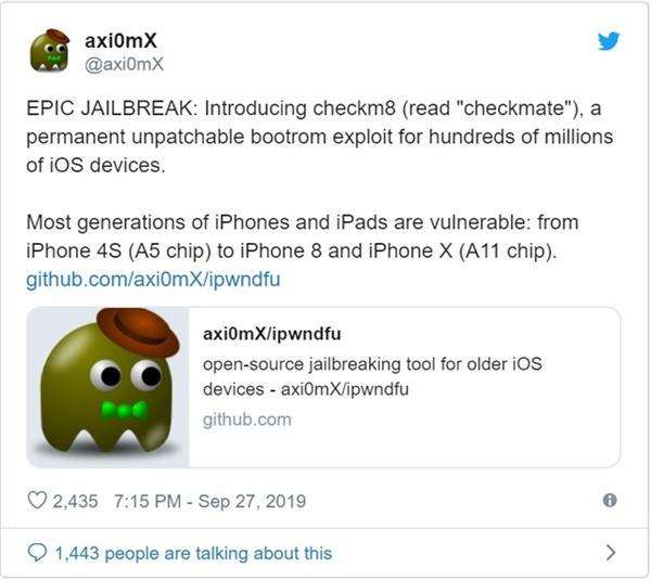 开发者称发现iOS不可修复漏洞:让iPhone永久越狱